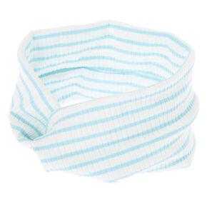 Striped Ribbed Twisted Headwrap - White,