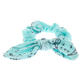 Small Bandana Knotted Bow Hair Scrunchie - Mint,