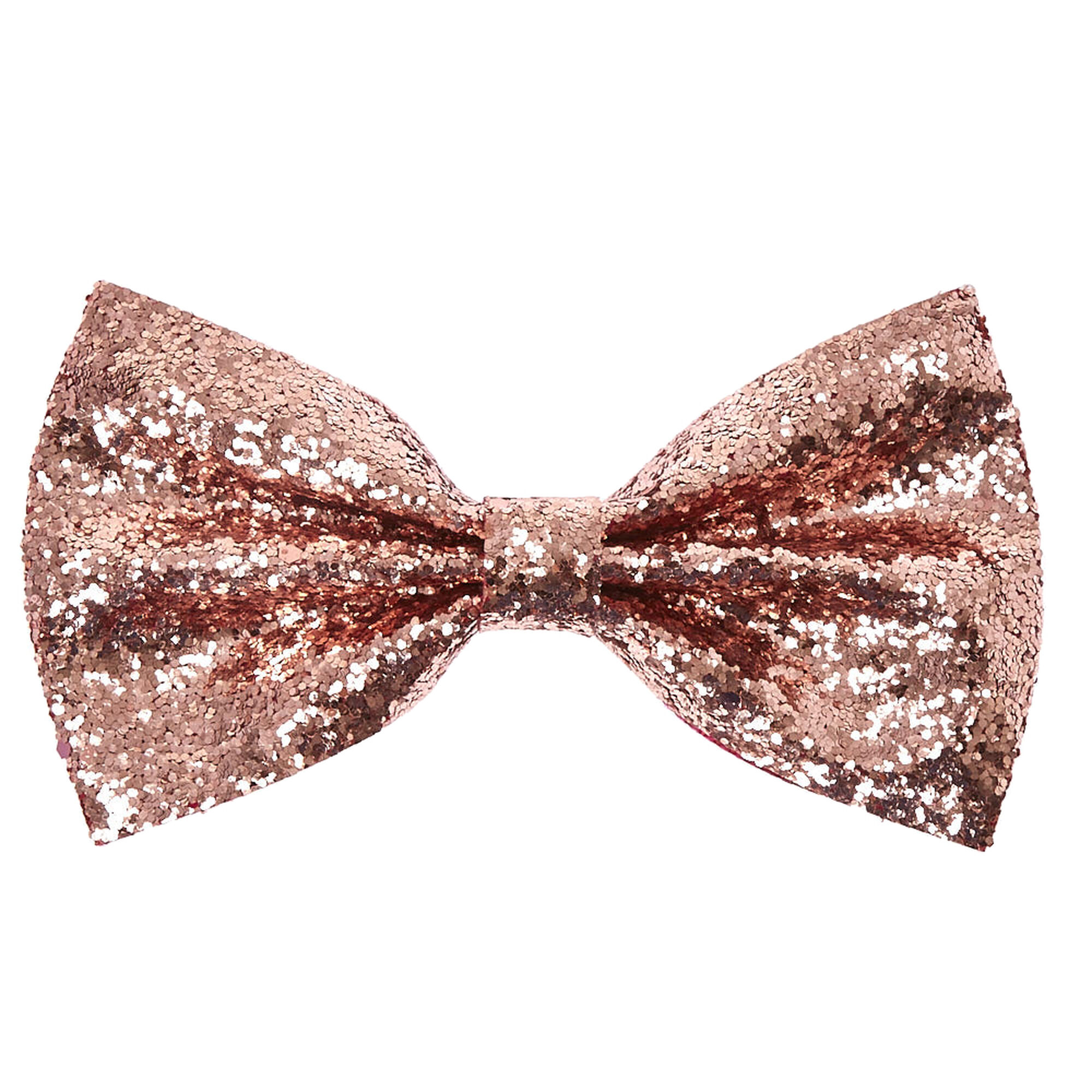 Rose Gold Glitter Bow Hair Clip Claire S Us