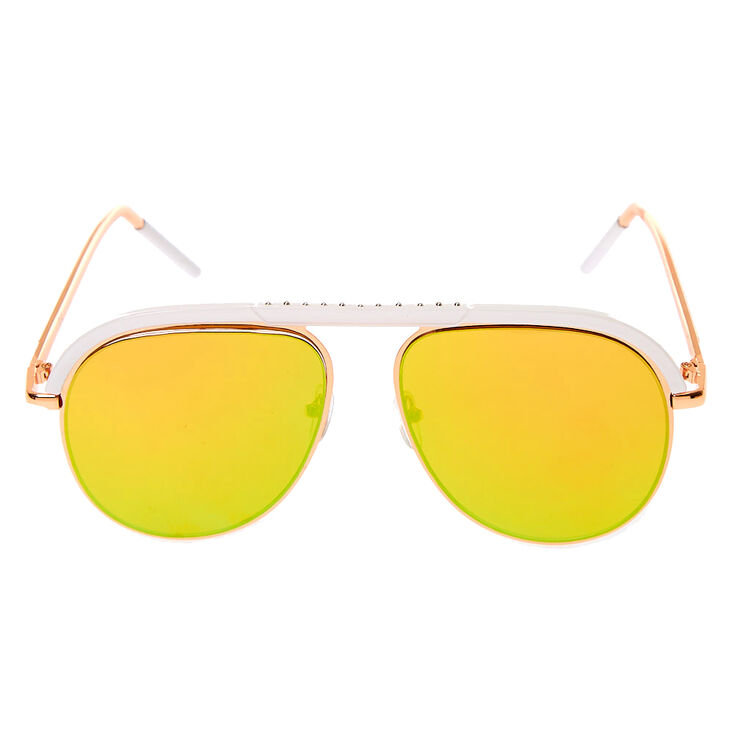White Browbar Aviator Sunglasses - Rose Gold,