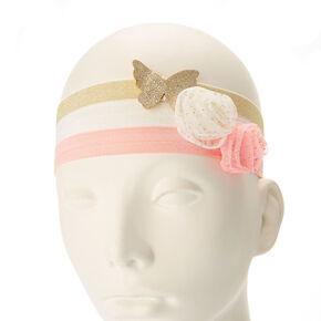 Bandeaux à fleurs avec paillettes roses, couleur dorés et blancs pour enfant,