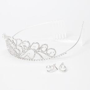 Silver Rhinestone Pearl Cindy Tiara  & Stud Earrings - 2 Pack,