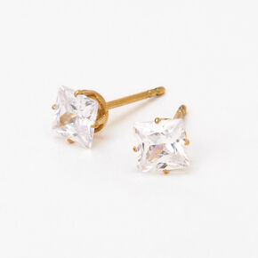 Gold Titanium Cubic Zirconia Square Stud Earrings - 5MM,