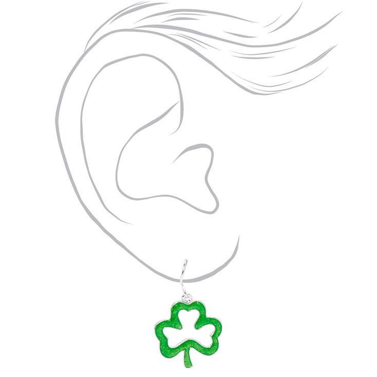 1'' Glitter Shamrock Drop Earrings - Green,