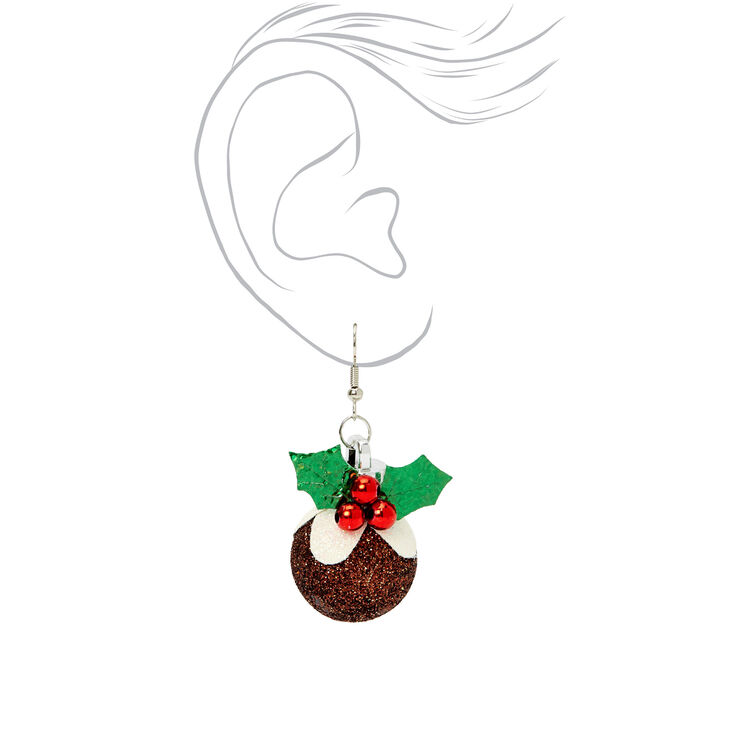 """Silver 1.5"""" Christmas Pudding Drop Earrings,"""