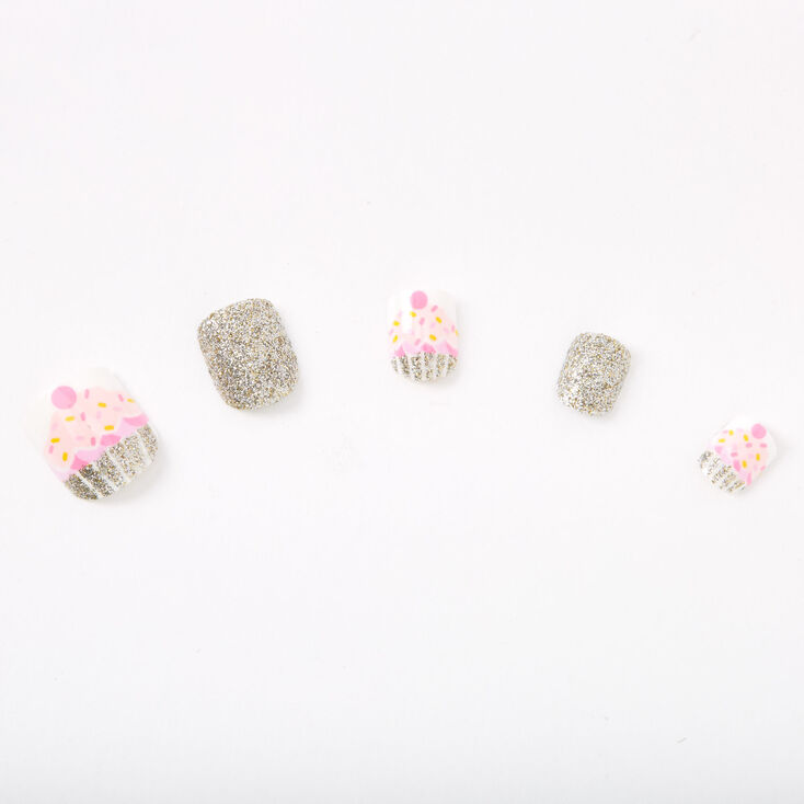Glitter Cupcake Square Press On Faux Nail Set - Pink, 24 Pack,