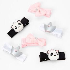 Claire's Club Queen Panda Ribbon Hair Bow Clips - 6 Pack,