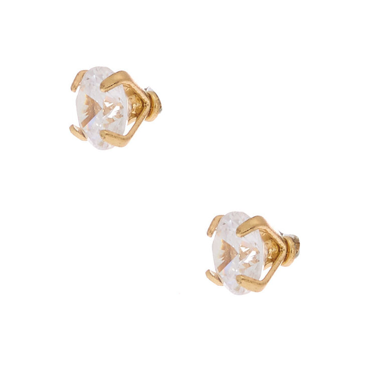 Gold Cubic Zirconia Round Martini Stud Earrings - 4MM,