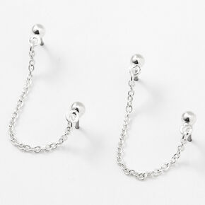Silver 3MM Ball Connector Chain Stud Earrings,