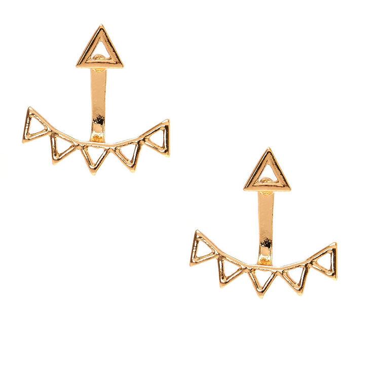 Boucles d'oreille devant-derrière géométriques couleur doré,