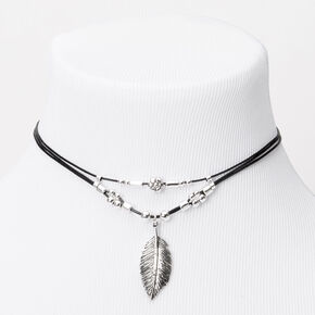 Leaf Charm Cord Choker Necklace - Black,