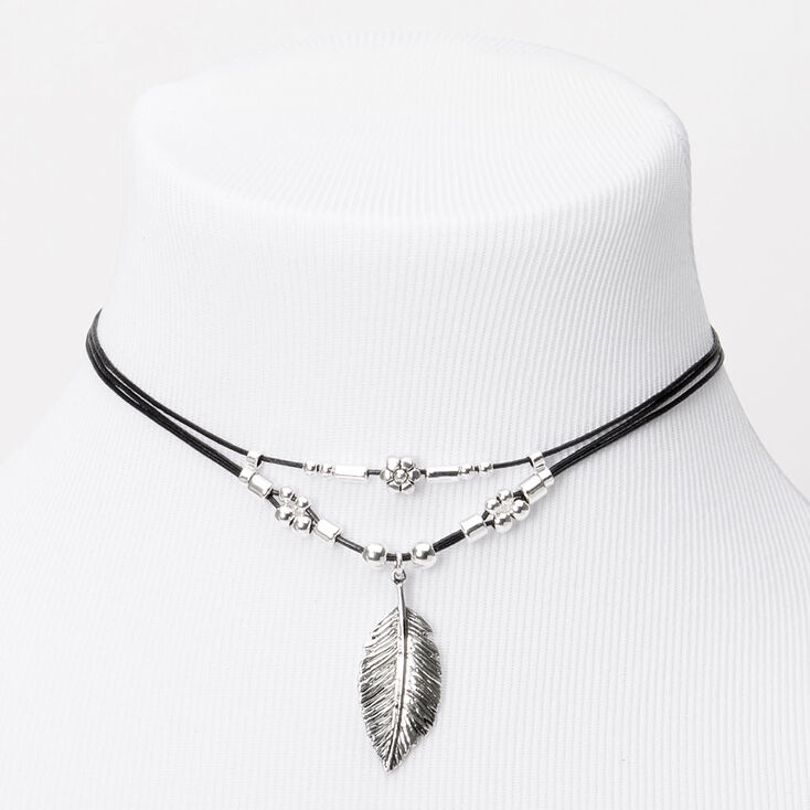 Leaf Charm Cord Choker Necklace - Black,