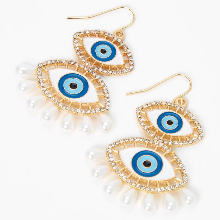 """Gold 2"""" Double Evil Eye Pearl Drop Earrings - Blue,"""