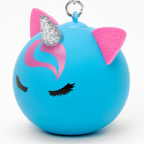 Glitter Unicorn Stress Ball Keychain - Blue,