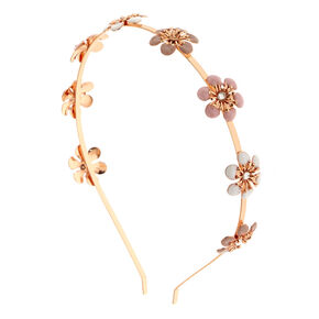 Rose Gold Blush Flowers Headband,
