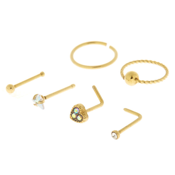 Gold 20g Iridescent Stone Nose Stud Ring Set 6 Pack Claire S Us
