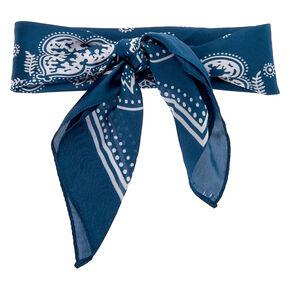 Paisley Satin Bandana Headwrap - Blue,