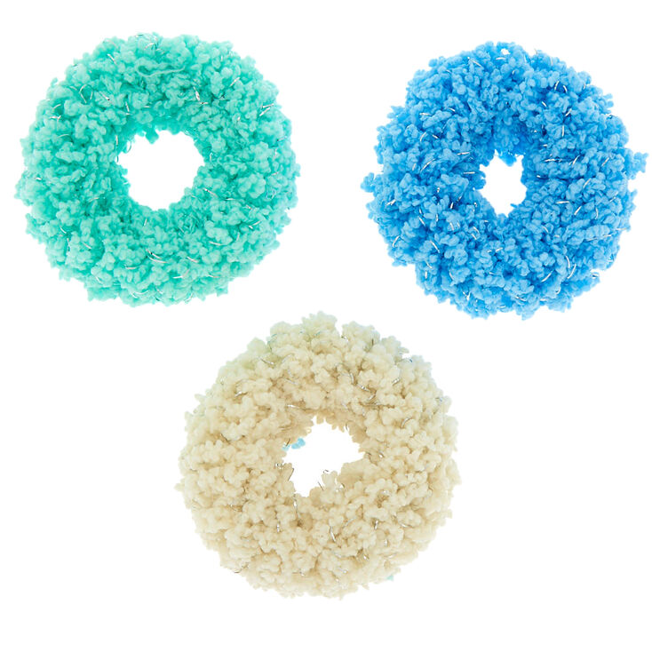 Small Fuzzy Glitter Hair Scrunchies - Blue, 3 Pack,