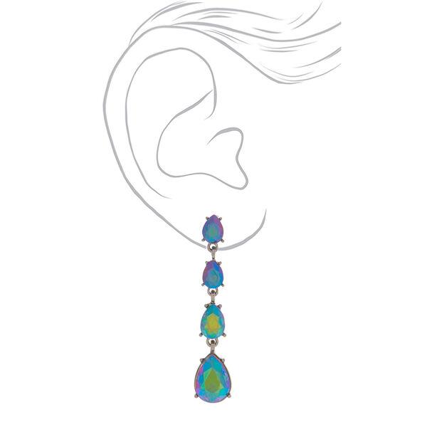 """Claire's - hematite 2"""" anodized teardrop drop earrings - 2"""