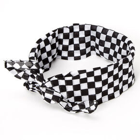 Black & White Checkered Bandana Headwrap,