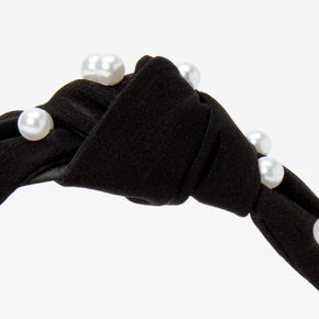 Serre-tête noué ornementé perle d'imitation - Noir,
