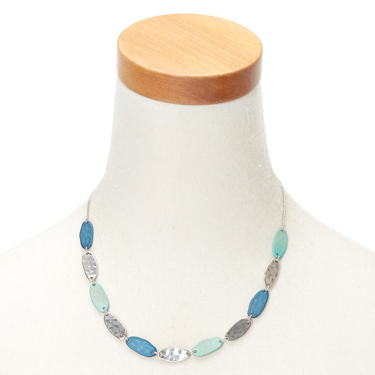 Silver Mixed Patina Statement Necklace - Blue,