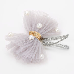 Claire's Club Pearl Tulle Snap Hair Clips - 4 Pack,