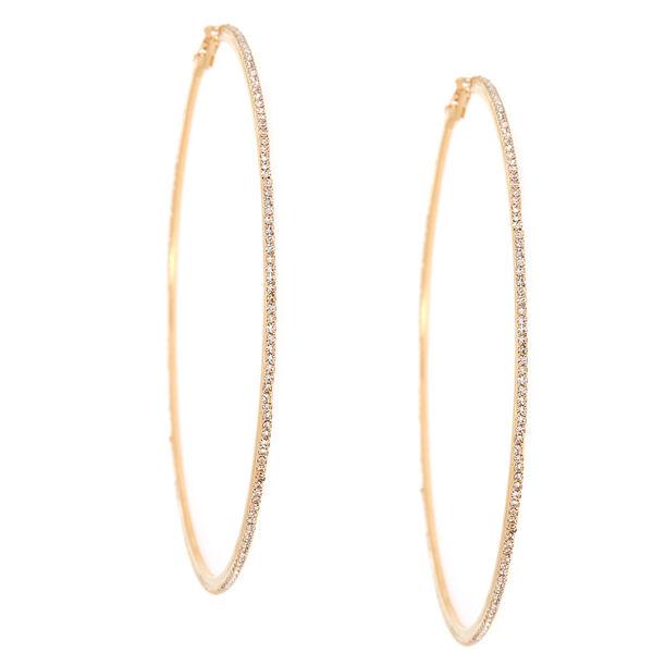 Claire's - glass rhinestone 100mm hoop earrings - 1