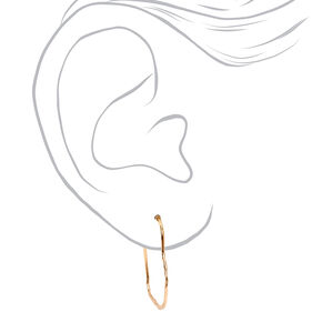 Gold 20MM Textured Heart Hoop Earrings,