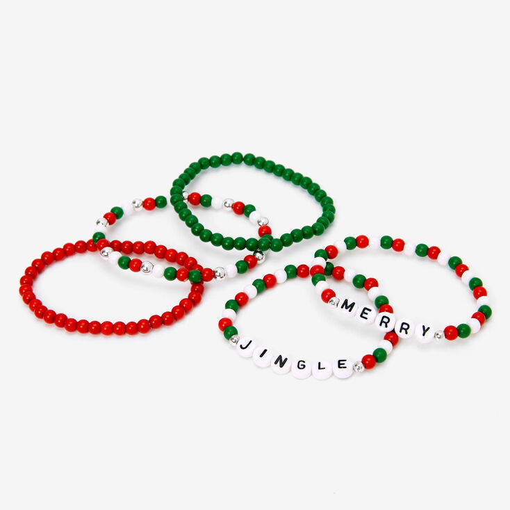 Merry Jingle Beaded Stretch Bracelets - 5 Pack,