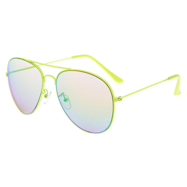 Aviator Sunglasses - Neon Yellow,