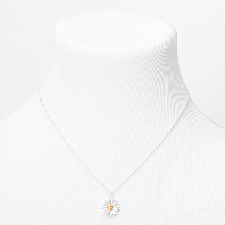 Silver Dainty Daisy Pendant Necklace,