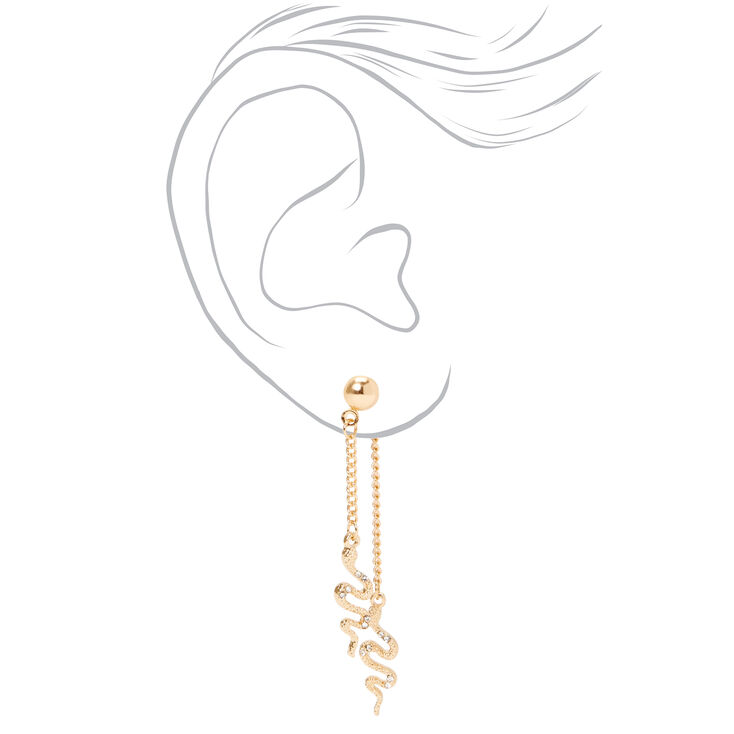 """Gold 2"""" Embellished Snake Front and Back Drop Earrings,"""