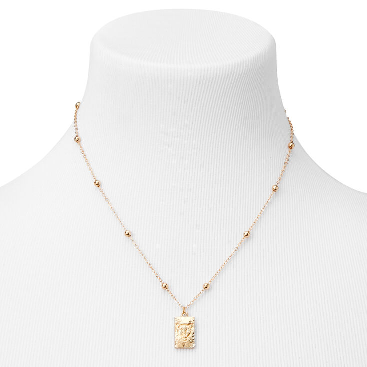 Gold Tiger Face Dog Tag Pendant Necklace,