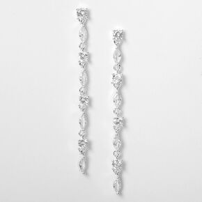 "Silver Cubic Zirconia 2.5"" Round & Marquis Linear Drop Earrings,"