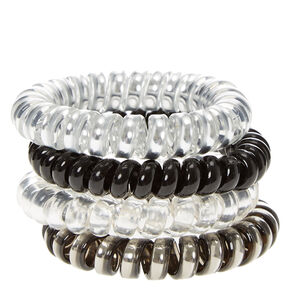 Neutral Metallic Spiral Hair Ties - 4 Pack,
