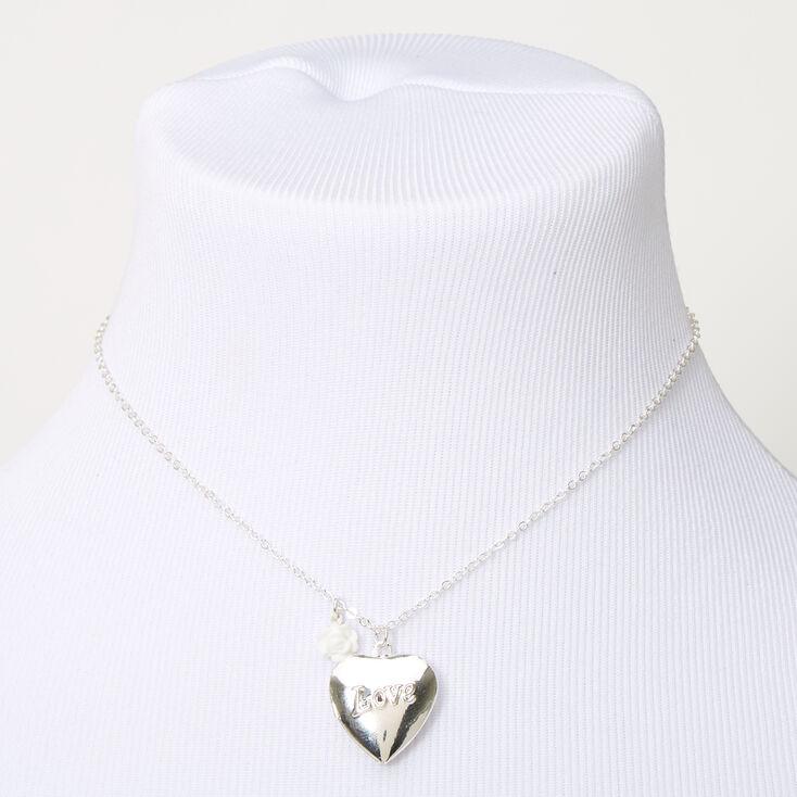 Claire's Club Silver Love Locket Necklace,
