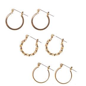 Gold 20MM Twisted Hoop Earrings - 3 Pack,