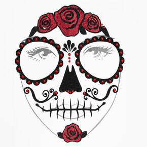 Halloween Glitter Traditional Day of the Dead Face Tattoos - Red,