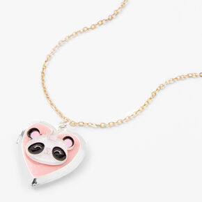 Claire's Club Silver Glitter Panda Locket Necklace,