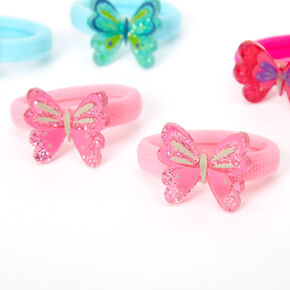 Claire's Club Glitter Butterfly Hair Ties - 6 Pack,