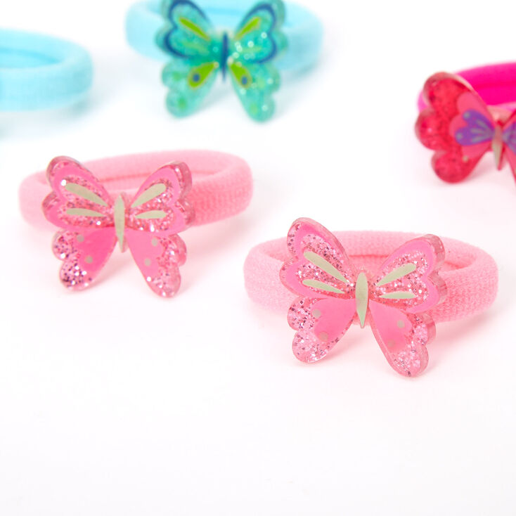 Claire's Club Glitter Butterfly Hair Bobbles - 6 Pack,