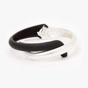 Silver & Black Crisscross Hinged Cuff Bracelet,