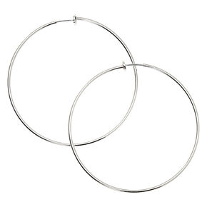Silver 70MM Clip On Hoop Earrings,
