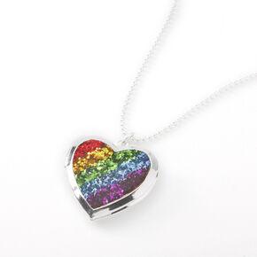 Silver Rainbow Heart Locket Pendant Necklace,