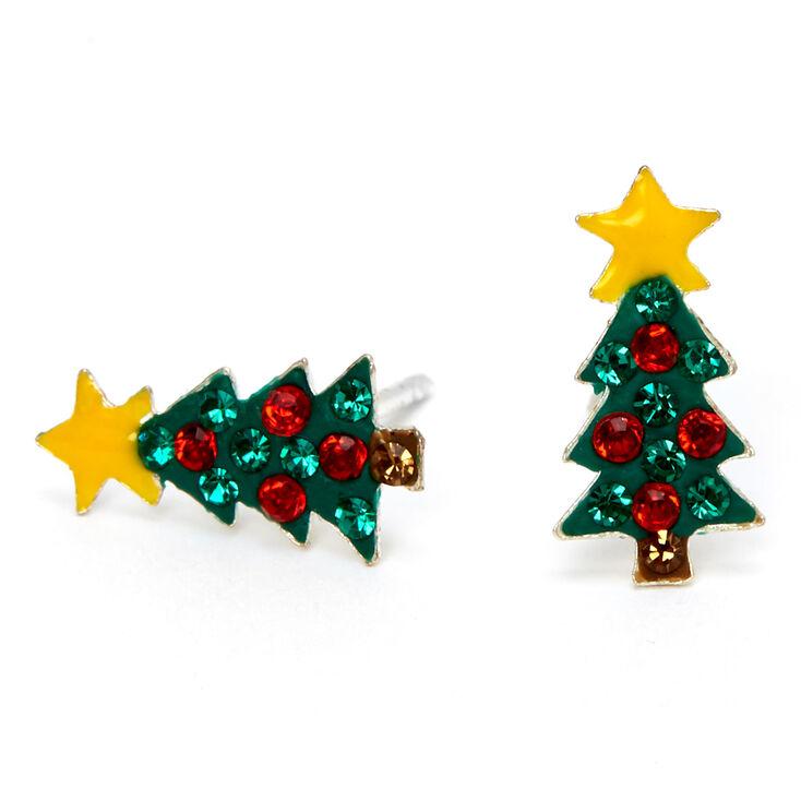 Holiday Earrings Mismatch Red Green Earrings Christmas Tree Earrings Holiday Tree Earrings