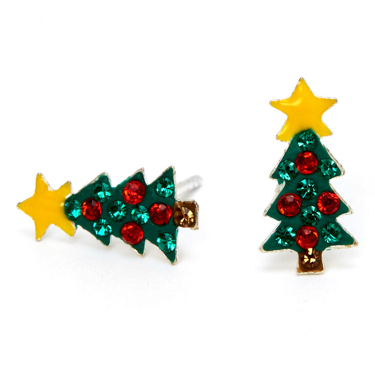 Sterling Silver Red & Green Christmas Tree Stud Earrings,