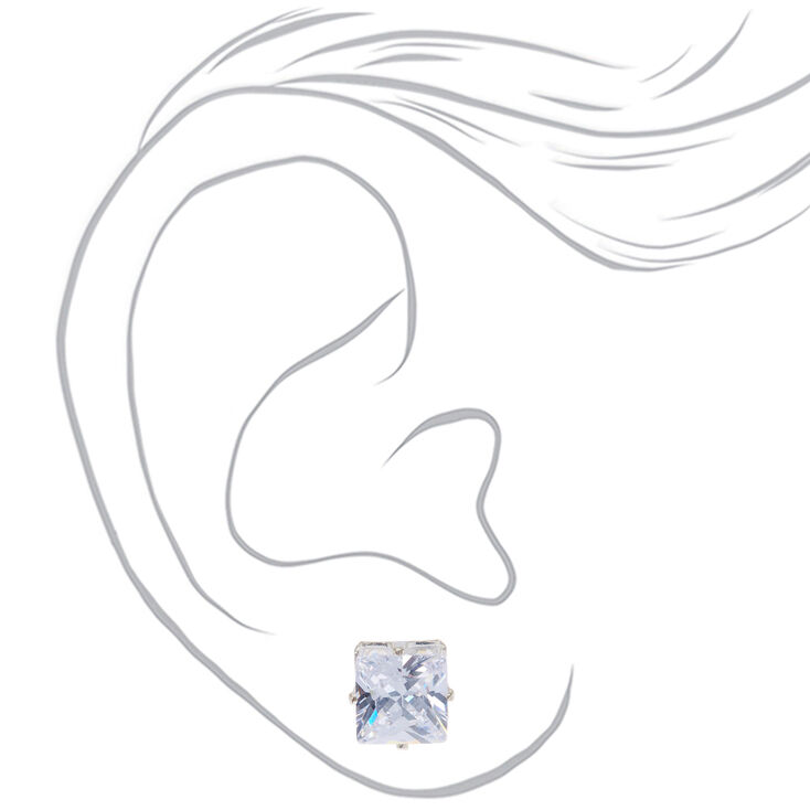 Silver Cubic Zirconia Square Stud Earrings - 8MM,