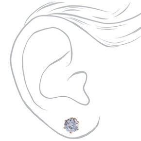 Gold Cubic Zirconia Round Stud Earrings - 7MM,