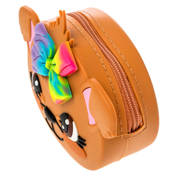 Claire's - jojo siwa™ bow bow silicone coin purse- brown - 2